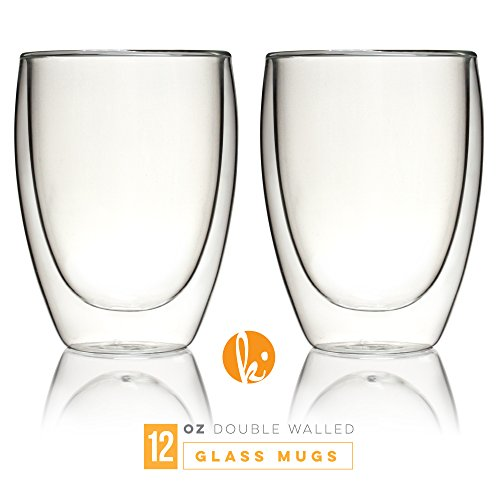 Glass Coffee or Tea Mugs Drinking Glasses Set of 2-12oz Double Wall Thermal Insulated Cups, Espresso Latte Cappuccino Stackable Glassware