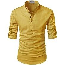 TheLees Transform Roll-up Sleeve Mandarin Henley Neck Linen Shirts