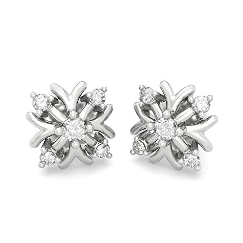 18 K Or Blanc 0,13 CT TW Round-cut-diamond (IJ | SI) Boucles d'oreille à tige