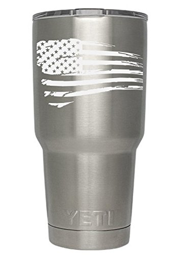 Curve Tumbler (USA Flag Tattered (white) Decals for Yeti cups - Car Sticker - Car Decal - Window Sticker for Tumbler, Cup, Car, Truck, Wall, Notebook, SUV, Computer, Laptop, Motorcycle, Helmet (White))