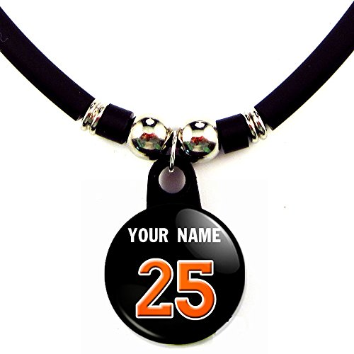 - SpotlightJewels Miami Personalized Baseball Jersey Necklace with Your Name and Number