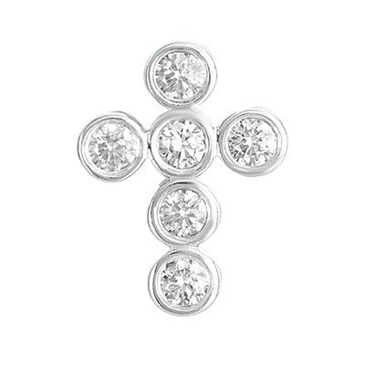 Or blanc 14 carats Diamant Pendentif Croix JewelryWeb 16 mm