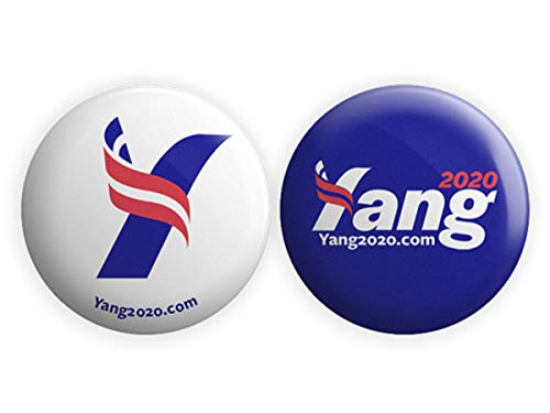 (Andrew Yang for President Campaign Button Combo Blue & White - Pack of 2)