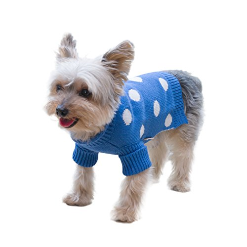 Stinky G Royal Blue Polka Dots Dog Pet Sweater With Rolled Neckline #10 - -