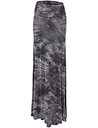 LL Womens Tie Dye Fold Over Maxi Skirt - Made In USA