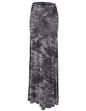 LL WB1058 Womens Tie Dye Fold Over Maxi Skirt S BLACK