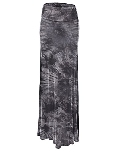 LL WB1058 Womens Tie Dye Fold Over Maxi Skirt S BLACK (Printed Maxi Skirt)