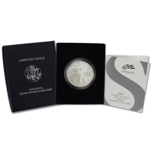 2007-w-american-silver-eagle-uncirculated-collectors-burnished-1-ogp-us-mint