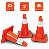 ROVSUN 5Pcs Safety Traffic Cones, 18'' Orange Slim Fluorescent Reflective Collars, Road Parking Field Marker Cones for Outdoor Activity & Festive Events Multipurpose
