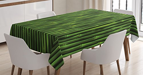 Asian Bamboo Plant (Nature Pattern Tablecloth by Ambesonne, Bamboo Plants Tree Tropical Decorations Party Asian Theme, Rainforest Print Wildlife Zen Rectangular Table Cover for Dining Room and Kitchen, 60 x 84 Inch Green)