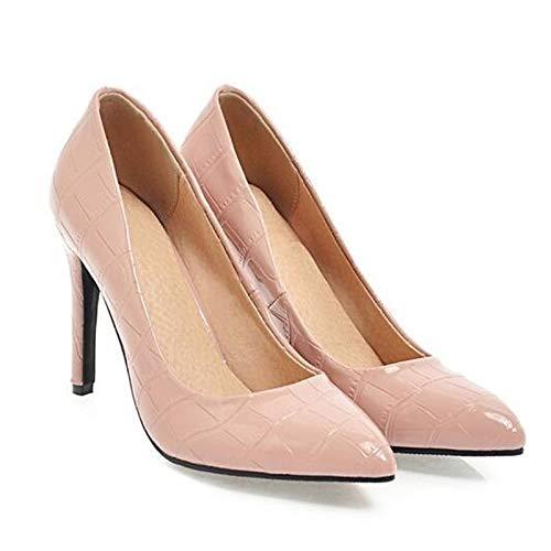 Primavera Mujer Pump Stiletto Zapatos Cuero de Rosa de Heel ZHZNVX Negro White Basic Heels Blanco BXTcCqf