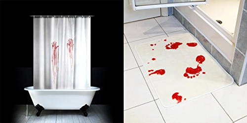 Amazon.com: Enllo® Bloody Bath Shower Curtain+blood Bath Mat, Blood Bath  Set!: Home U0026 Kitchen
