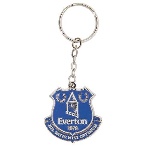 Everton FC Official Metal Soccer Crest Keyring (One Size) (Silver/Blue)