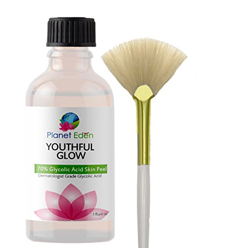 70% Glycolic Acid Skin Peel with Free Fan Brush- Unbuffered Professional ()