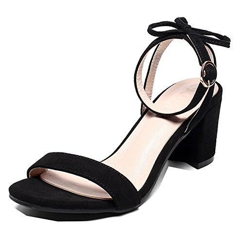 Moyen Femme Noir Cadeaux Mode Talon Bloc Aisun Unie Couleur Sandales O1aSOxt
