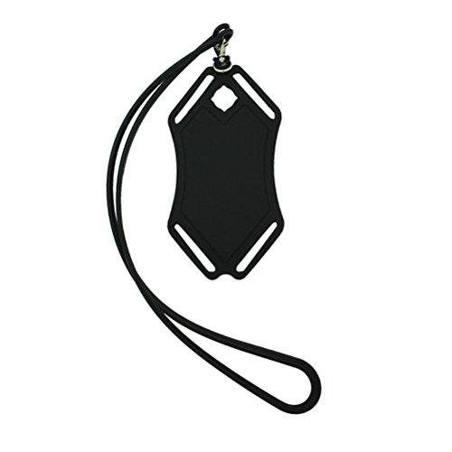 UEETEK 2 piezas de silicona teléfono sostenedor cordón collar móvil estuche para iPhone 6 / 6S / 7 / 7Plus / 8 / X y teléfonos Android (negro y rosa)