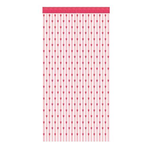 Tantisy ♣↭♣ Love Heart String Curtain Tassel Curtain ☑ Partition Door Window Door Screen Panel Sheer Curtain Home Decor Hot Pink