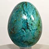 58mm Rich Blue Chrysocolla Egg w/Green Malachite & Cuprite Natural Sparkling Crystal Polished Chalcedony Mineral Gemstone Egg - Peru + Plastic Stand