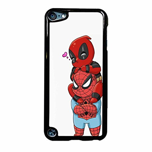 Deadpool And Spiderman Chibis Case / Color White Plastic / Device iPod Touch 5