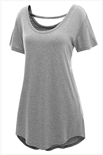 YeeATZ Pale Grey Comfy Short Sleeve Basic Long T-shirt(DarkGrey,XL) (Lakers Cheerleading Outfit)