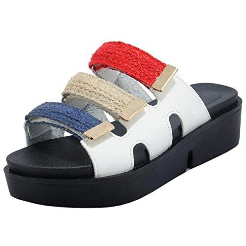 Women's White TAOFFEN Toe Shoes Open Slide Sandals ZdzUzwCq