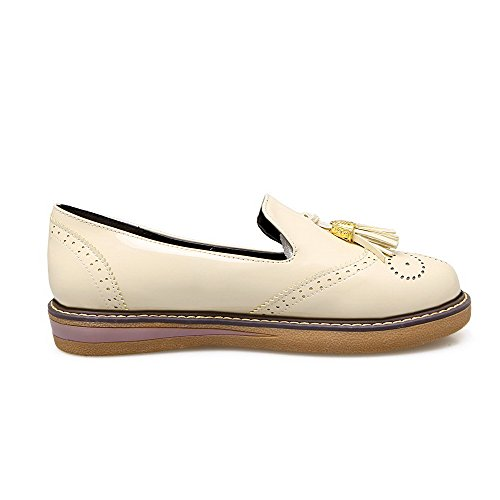 shoes Solid Pumps Women's toe Round 40 Odomolor Pu Low heels Beige qxpS68IwI