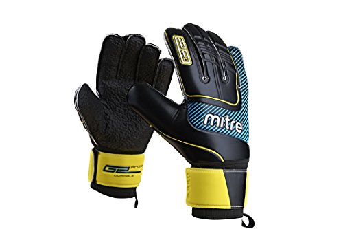 Mitre Anza G2 Durable Goal Keeper Gloves - Black/Cyan/Yellow, Size 10