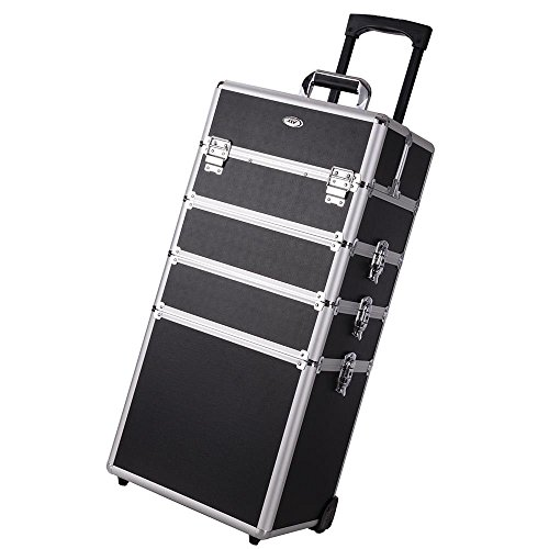2 Extendable Tiers Black 4 in 1 Interchangeable Rolling Makeup Case Organizer Trolley w/ Adjustable Tray - Online Chemist Boots Sale
