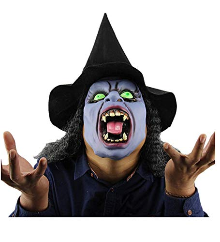 Halloween Props Old Witch Mask with Hair for Halloween Costume Party Props Latex for Women ()