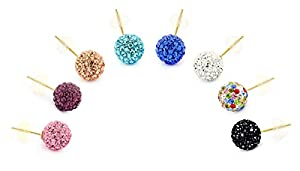 14K Gold 8mm Round Multi-Color Pave Crystal Disco Ball Stud Earrings