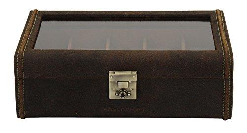 Friedrich|23 Unisex Uhrenkasten für 8 Uhren Leder braun 27022-6