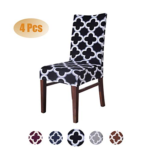 SARAFLORA Moroccan Black Dining Chair Slipcovers Set of 4 – Stretch Washable Seat Protectors for Kitchen Living Room Wedding Hotel Ceremony Party