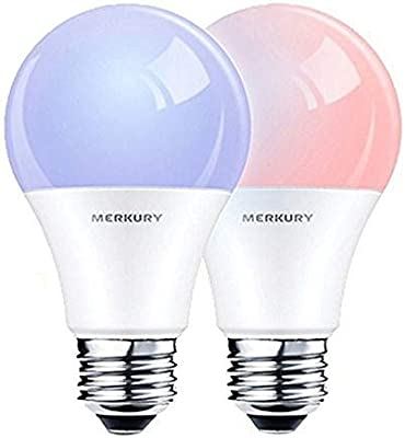Merkury Innovations Smart Wi-Fi LED Color Light Bulbs 2-Pack COMPATIBLE w/ALEXA and GOOGLE HOME - - Amazon.com