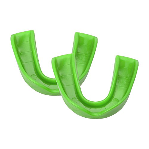 Adams Adult USA Mouth Guard with No Straps (2 Pack), Neon Green