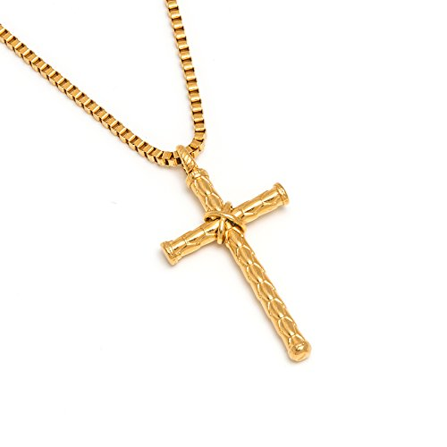 Sunflower Jewellery Stainless Steel Vintage Cross Pendant Necklace 18K Gold Chain Necklace for Men, Boys
