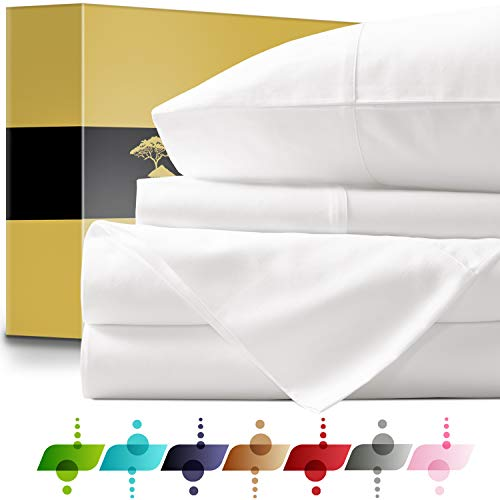 Urban Hut Egyptian Cotton Sheets Set (4 Piece) 1000 Thread Count - Bedspread Deep Pocket Premium Bedding Set, Luxury Bed Sheets for Hotel Collection Soft Sateen Weave (California King, White)