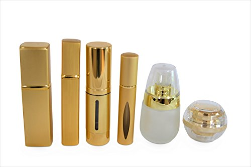 TSA Travel Approved Glass Refillable Bottles Set (6 pcs) | Airless Vacuum Pump | Spray/Perfume Atomizer Glass Bottle | Roller-on Serum or Oil Bottle | Cosmetic Jar Container for Oil, Serums, Creams