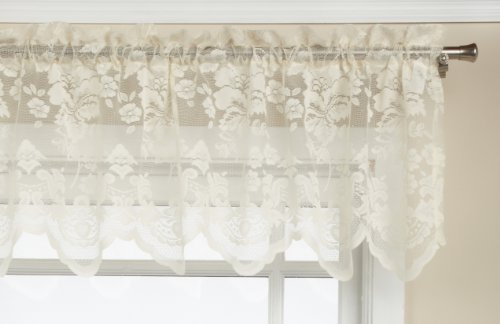 LORRAINE HOME FASHIONS Floral Vine 60-inch x 18-inch Valance, Ivory - Ivory Lace Valance