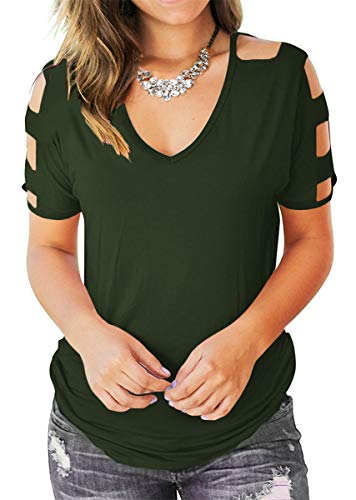 Eanklosco Womens Summer Short Sleeve Cold Shoulder Tops V Neck Basic T Shirts (Green, L)