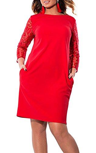 Monika Verano Mujeres Talla Grande Vestido Cuello Redondo Encaje Costura Manga Larga Mini Vestido Colores Lisos Elegantes Vestidos de Partido Fiesta Cóctel