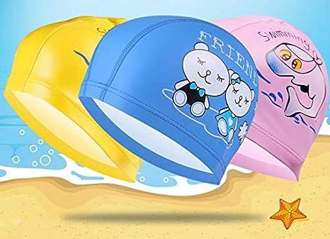 FOURCHEN Niños Nadando anteojos Junior Childrens 3-15 años de Edad, con Anti-Niebla, Tapones para los oídos y Gorro de natación para niños (4pack Kids Cap): ...
