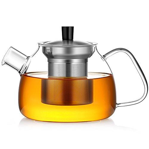 Lowest Prices! Ecooe Glass Teapot 30 Oz Loose Leaf Tea Maker Stovetop Safe Tea Kettle