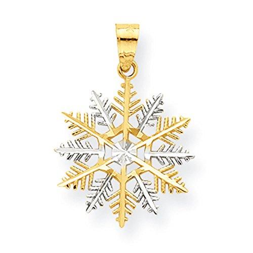 Pendants Celebration Charms 10K Two-Tone Gold Snowflake Charm Pendant