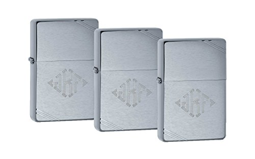 Personalized Set of 3 Zippo Lighters with Free Engraving in Diamond Monogram Font ()