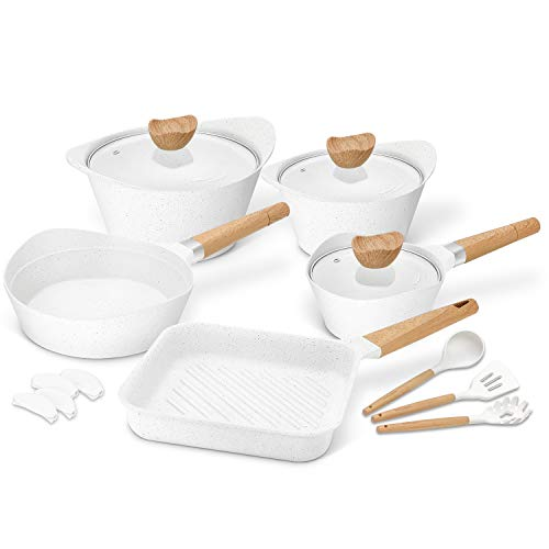 Cookware Set Non-Stick Scratch Resistant 100% PFOA Free Induction Pots and Pans Set with Cooking Utensil Pack -15…