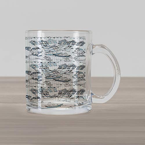 Lunarable Doodle Glass Mug, Nautical Elements Boats Anchors Ice Cream Life Buoy Ocean Theme Print, Printed Clear Glass Coffee Mug Cup for Beverages Water Tea Drinks, Slate and Baby Blue White Boats & Buoys Glass Print