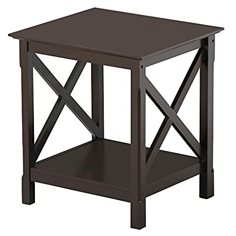 Yaheetech 2 Tier Wood Sofa Side End Table with X Design Storage Shelf Living Room Bedroom Furniture, Espresso Finish