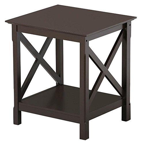 Topeakmart X-Design Wood End Table Espresso Finish Wooden Square Chair Side End Table with Shelf