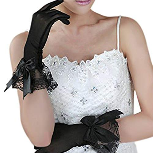 - Women Ladies Voile Lace Elastic Net Yarn Party Wedding Bridal Dress Short Gloves,Bowknot Black,One Size