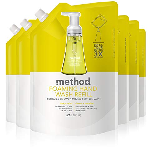 Method Foaming Hand Soap Refill, Lemon Mint, 28 Fl Oz, Pack of 6